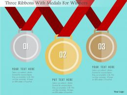 Three Ribbons With Medals For Winners Flat Powerpoint Design