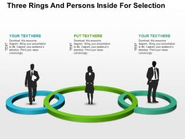 Three Rings And Persons Inside For Selection Flat Powerpoint Design