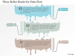 Three Roller Brush For Data Flow Flat Powerpoint Design