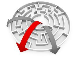Three Rounded Arrows In Maze Showing Leadership By Red Arrow Stock Photo