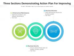 Three Sections Demonstrating Action Plan For Improving
