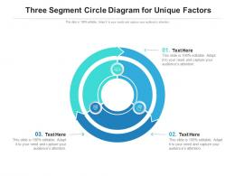 Three Segment Circle Diagram For Unique Factors Infographic Template