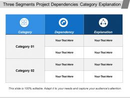 Three Segments Project Dependencies Category Explanation
