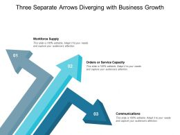 Three Separate Arrows Diverging With Business Growth