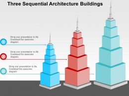 three_sequential_architecture_buildings_flat_powerpoint_design_Slide01