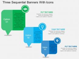 Three Sequential Banners With Icons Flat Powerpoint Design