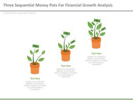 Three Sequential Money Pots For Financial Growth Analysis Powerpoint Slides