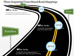 Three Sequential Years Based Road Mapping Powerpoint Templates