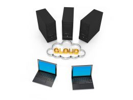 Three Servers With Cloud And Two Laptops Stock Photo