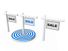 Three Sign Post With Sale Text With Blue Target Stock Photo