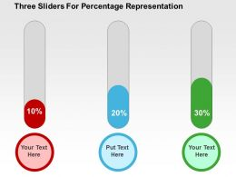 Three Sliders For Percentage Representation Flat Powerpoint Design