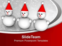 Three Smiling Snowman Winter Holidays PowerPoint Templates PPT Themes And Graphics