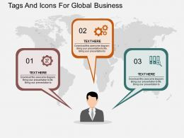 Three Speech Tags And Icons For Global Business Ppt Presentation Slides