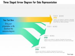 Three Staged Arrow Diagram For Data Representation Powerpoint Template