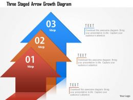 Three Staged Arrow Growth Diagram Powerpoint Template