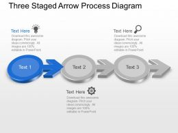 Three Staged Arrow Process Diagram Powerpoint Template Slide