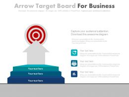 Three Staged Arrow Target Board For Business Powerpoint Slides