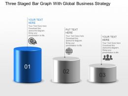 Three Staged Bar Graph With Global Business Strategy Powerpoint Template Slide