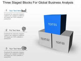 Three Staged Blocks For Global Business Analysis Powerpoint Template Slide