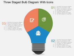 Three Staged Bulb Diagram With Icons Flat Powerpoint Desgin