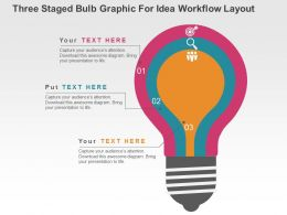 Three Staged Bulb Graphic For Idea Workflow Layout Flat Powerpoint Design