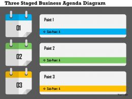 Three Staged Business Agenda Diagram Flat Powerpoint Design