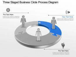 Three Staged Business Circle Process Diagram Powerpoint Template Slide