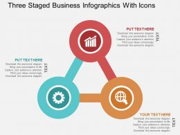 Three Staged Business Infographics With Icons Flat Powerpoint Design