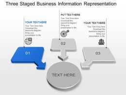 Three Staged Business Information Representation Powerpoint Template Slide