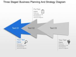 Three Staged Business Planning And Strategy Diagram Powerpoint Template Slide