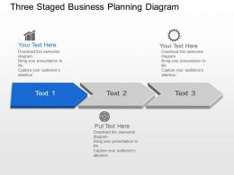 Three Staged Business Planning Diagram Powerpoint Template Slide