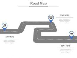 Three Staged Business Roadmap Diagram Powerpoint Slides
