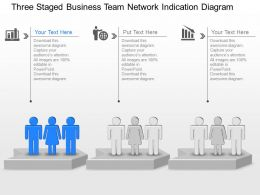 Three Staged Business Team Network Indication Diagram Powerpoint Template Slide