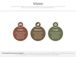 Three Staged Business Vision Mission And Goal Diagram Powerpoint Slides