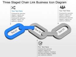 Three Staged Chain Link Business Icon Diagram Powerpoint Template Slide
