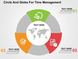 Three Staged Circle And Globe For Time Management Ppt Presentation Slides