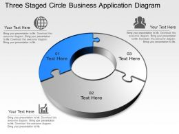 Three Staged Circle Business Application Diagram Powerpoint Template Slide