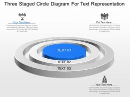 Three Staged Circle Diagram For Text Representation Powerpoint Template Slide