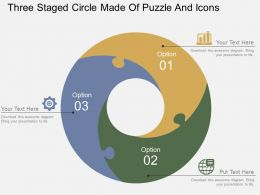 Three Staged Circle Made Of Puzzle And Icons Flat Powerpoint Design
