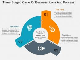 Three Staged Circle Of Business Icons And Process Flat Powerpoint Design