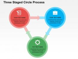 Three Staged Circle Process Flat Powerpoint Design