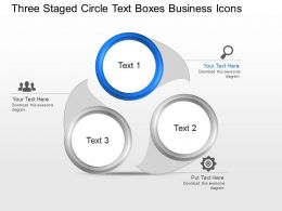 Three Staged Circle Text Boxes Business Icons Powerpoint Template Slide