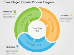 Three Staged Circular Process Diagram Flat Powerpoint Design