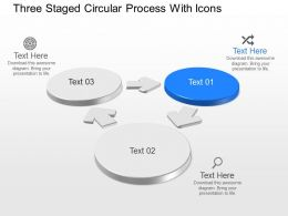 Three Staged Circular Process With Icons Powerpoint Template Slide