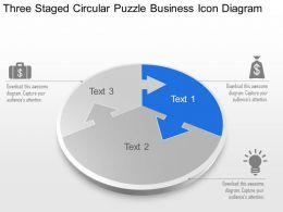 Three Staged Circular Puzzle Business Icon Diagram Powerpoint Template Slide