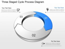 Three Staged Cycle Process Diagram Powerpoint Template Slide