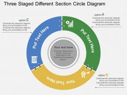 Three Staged Different Section Circle Diagram Flat Powerpoint Design