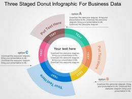 Three Staged Donut Infographic For Business Data Flat Powerpoint Design