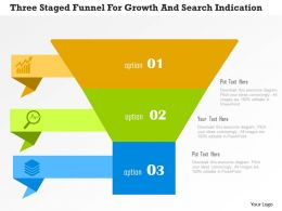 Three Staged Funnel For Growth And Search Indication Flat Powerpoint Design