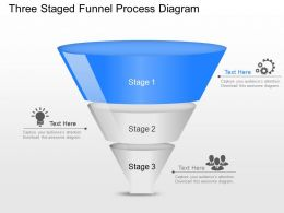 Three Staged Funnel Process Diagram Powerpoint Template Slide
